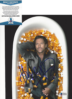 HUGH LAURIE SIGNED AUTHENTIC 'HOUSE MD' 8x10 PHOTO 3 ACTOR TV BECKETT COA BAS