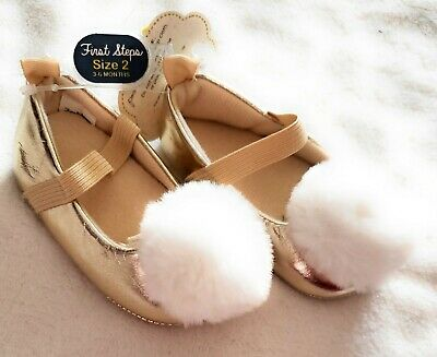 First Steps Infant Baby Girls Shoes Gold Pompom Size 2 / 3-6M