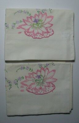 Hand Embroidered vintage water lily Pillow Cases 2 standard Pink Green 100% Cott