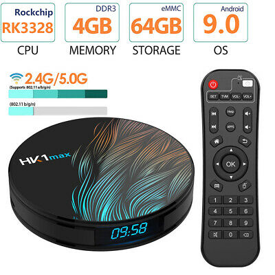 HK1 MAX Android 9.0 RK3318 4G+64GB Dual WiFi Smart TV Box HD Media Airplay V4W4