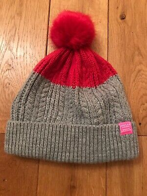 Girls Joules Pink Grey Bobble Cable Knit Hat with Faux Fur Pom Age 8-12yrs