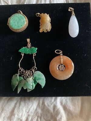 Lot Of Five 14K Gold Antique Chinese Carved Jade Pendants