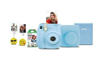 Fujifilm Instax Mini 7S Instant Camera Bundle Case Film Light Blue New