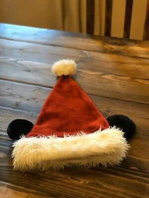 Disney Parks Christmas Red Santa Hat Cap Plush Mickey Ears Disneyland