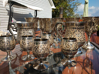 Beautiful Indian Silver Plated Brass Wine Glasses Cups and Steins