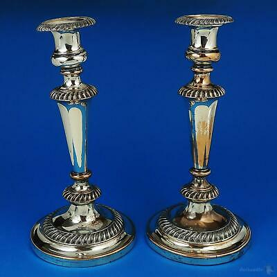 PAIR GEORGE III OLD SHEFFIELD PLATE CANDLESTICKS c1810 A/F