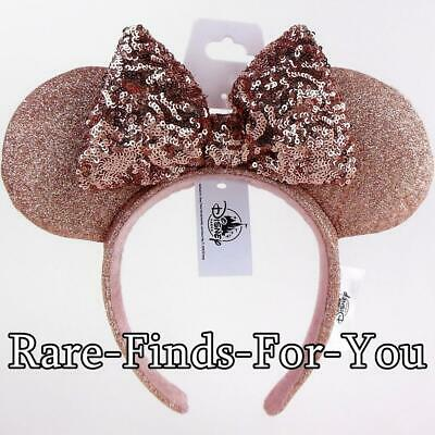 Disney Parks Minnie Mouse Briar Rose Gold Ears Sequin Bow Headband (NEW/TAGS)