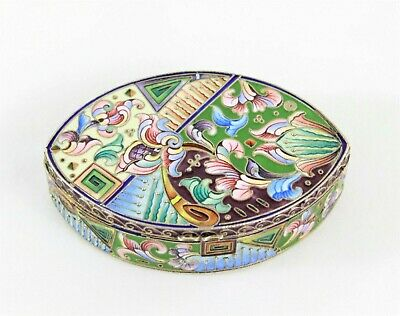 Imperial Russian Silver-Gilt and Enamel Cloisonné Snuff Pill Box 84 Moscow