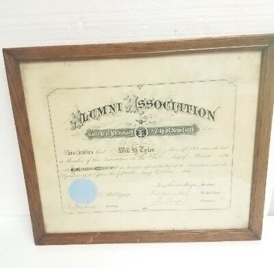 VTG /Antique 1886 NYC College of Pharmacy framed certificate diploma