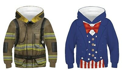 Childrens Kids Girls Boys Unisex Uncle Sam America Firefighter Hoodie Sweatshirt