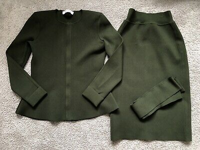 SCANLAN THEODORE Crepe Knit Olive Zip Jacket Skirt Suit M 10