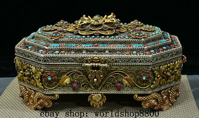 """11"""" Exquisite Old Tibet Silver Gold Turquoise Buddha Beast Flower Jewelry Box"""