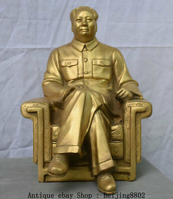 "13"" Chinese Brass Seat Chair Mao Ze Dong Leader Chairman Strategist Statue"