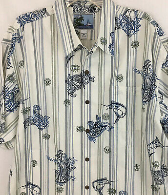 AFTCO Bluewater Mens  2X XXL Cotton Fish  Hawaiian Camp Shirt Blue White New
