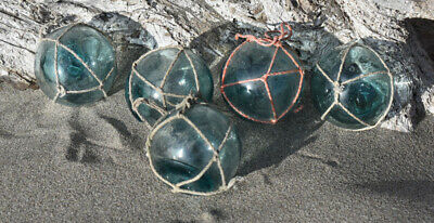 """2/"""" Netted FREE SHIPPING Lot of 5 Vintage Japanese Glass Fishing Floats"""
