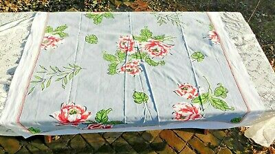 Vintage Brightly Colored Gray With Roses Cotton Tablecloth 52.5 X 49 Inches