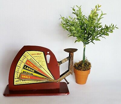 """""""Jiffy-Way"""" Rustic Vintage Style Tin Poultry Egg Scale New"""