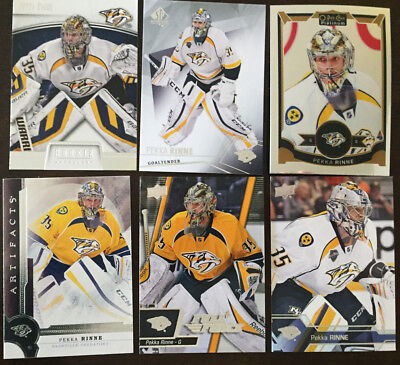 6 Pekka Rinne Cards 2 2016-17 [Artifacts #54 & 3 2015-16 [OPC Platinum #72] + 4