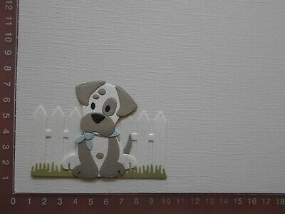 Card Making Die cuts - Dog / Puppy Assembled Fence Grass  Lot 2
