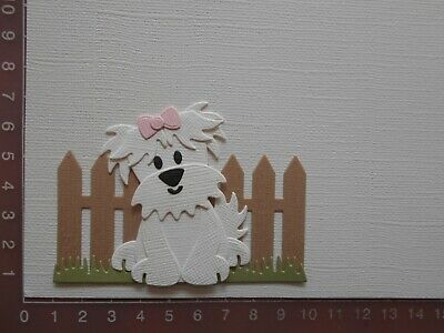 Card Making Die cuts - Dog / Puppy Assembled Fence Grass  Lot 5