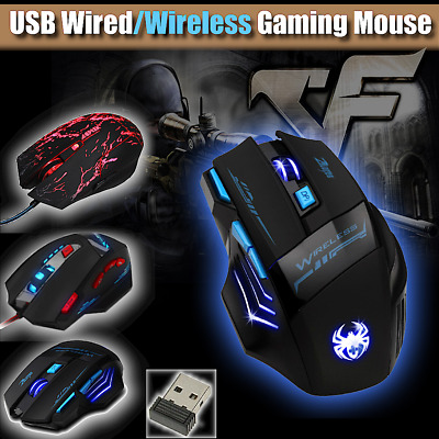 USB Wireless/Wired Gaming Mouse LED Optical 8000DPI Ergonomic Game Mice Gamer