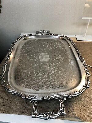"""Huge Vintage Leonard Silver Plate Serving Tray With Handles & Footed 28"""" Long"""