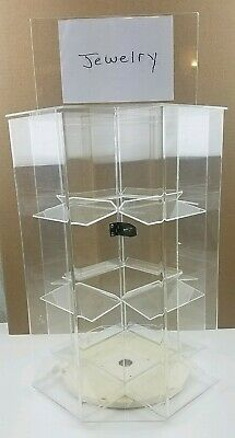 """4 Sided Acrylic Jewelry Locking Display Case Counter Top Spinner 16.5"""" x 12"""""""