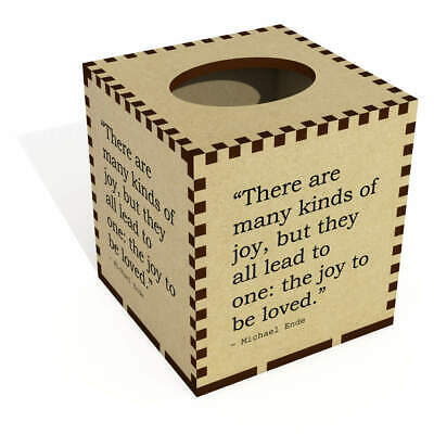 Square Quote By Michael Ende Wooden Tissue Box Cover (TB00027254)