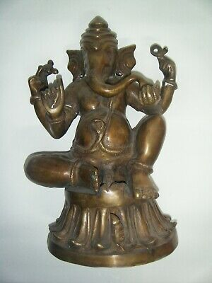 Vintage Bronze Ganesha Rare Brass Large Antique Hindu Goddess Statue Figure #002