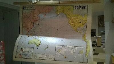 Very large Vintage antique  wall map wall hanging  Oceanie 96cm x 115cm school ?