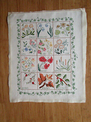 Completed Embroidery Of English Flowers For The Months Of The Year
