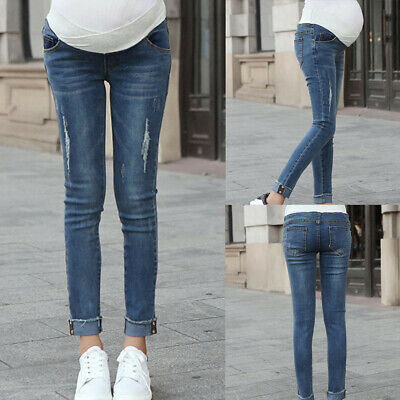 Women Summer Pregnancy Leggings Jeans Maternity Long Pant Belly Denim Trouser AU