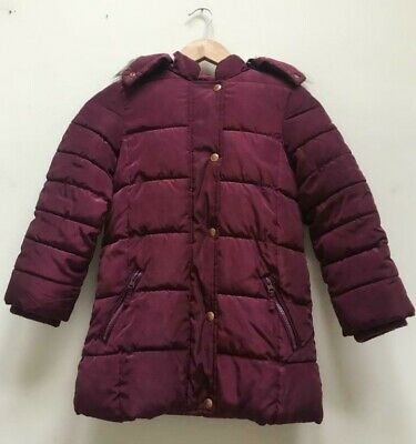 John Lewis Girls Wine Hooded Fleece Lined Warm Winter Coat Age 8 Years