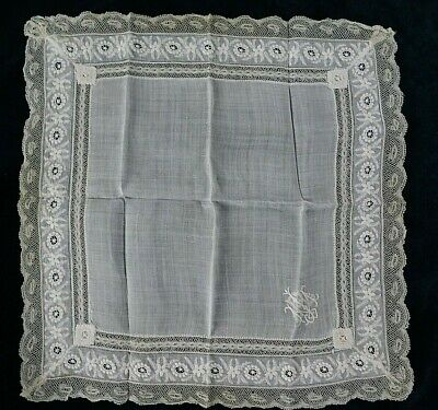 Antique  Ayrshire White Work  Lace Edged Monogrammed Handkerchief, 40 X 40 Cm