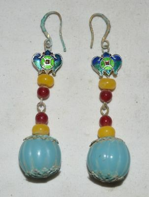 China Women Traditinal Jewelry Old Gilt Silver Earbob Color Jade Earrings Pair 9