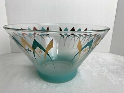 MID CENTURY ANCHOR HOCKING ATOMIC CHIP Bowl FROSTED TURQUOISE/GOLD