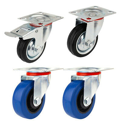 Transport Wheels Heavy Duty Castors Set/2x Castor +2x Castor with Brake