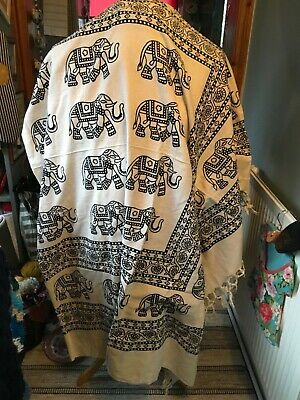 Hippy throw new in cotton,elephant pattern,Indian made