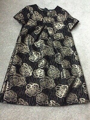 John Lewis lined black & gold girls dress age 10 BNWOT