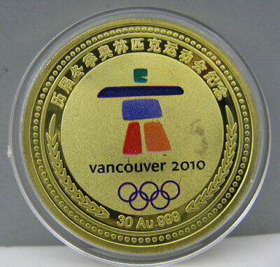 2010 Vancouver Canada Winter Olympics Gold Colour Badge Coin