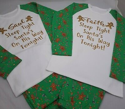 Personalised Pjs Pyjamas Christmas Xmas ANY TEXT Childrens 6-12mths to 9-10 yrsG