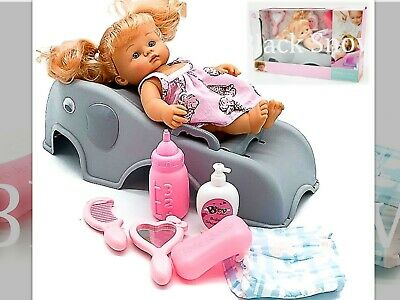 Girls Xmas Gifts Soft Body Baby Doll Toy, Shower Seat and Accessory