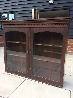 Antique Glazed Bookcase Top Mahogany Display Cabinet 19th Century Victorian