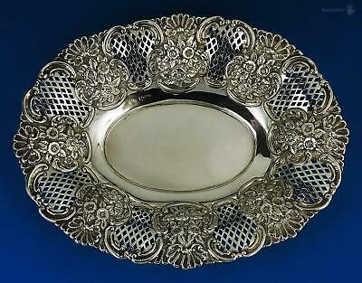 EDWARDIAN STERLING SILVER BREAD BASKET Chester c1910 G Nathan & R Hayes