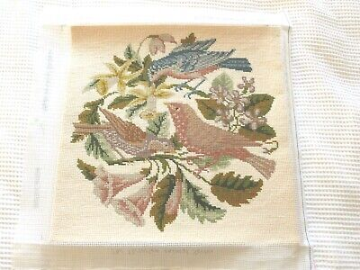 Stunning Elizabeth Bradley completed needlepoint tapestry Three Birds on Cream