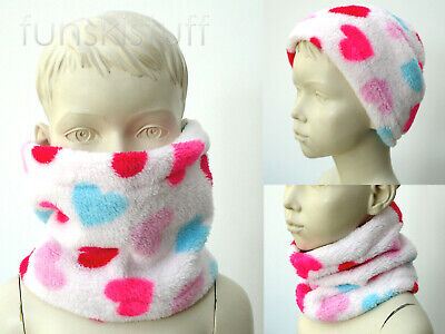 Infant SOFT FLUFFY FLEECE NECK WARMER scarf snood girls toddler white pink heart