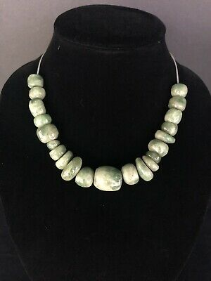 100% Authentic Ancient Pre Columbian Mayan Jade Bead Necklace *Museum Quality*