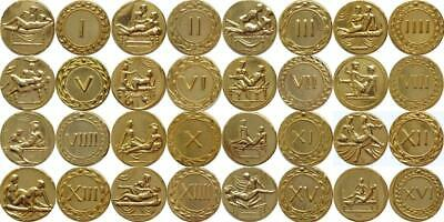 16 Erotic Roman Coins, Brothel Tokens Spintriae, Stocking Stuffer (16Spin-G)