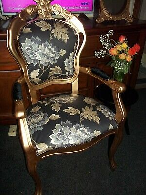 French Louis Style  Gold/Black Boudoir Chair