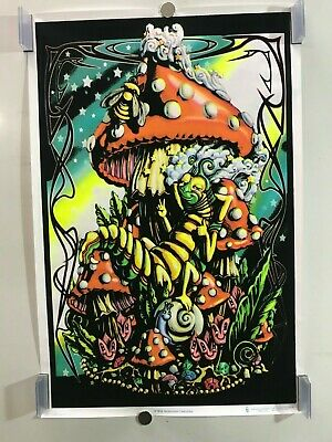 23X35 FLOCKED FANTASY MUSHROOM 1910 BLACKLIGHT POSTER ALICE IN WONDERLAND